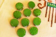 10 vtge.(unused) green glass buttons/silver  lustre rim/pattern in glass 17 mm.