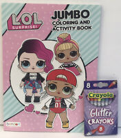 New 2pc LOL Surprise Jumbo Coloring & Activity Book + Glitter Crayons, Kids Art