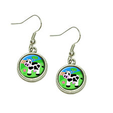 Cow Dangling Drop Charm Earrings