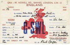 Very old QSL from Phil Clifton, Nowell Rd, Barnes, London (G-SWL) 29/5/1939