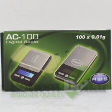 AWS AC-100 Black Digital Kitchen Pocket 100 X 0.01 Gram Portable Scale
