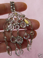 Vintage Antique Art Deco Silver Open Back Bezel Set Crystal Chandelier Necklace