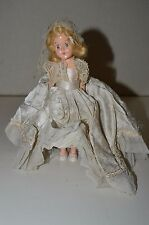 Vintage Plastic Clothed Girl Doll w/ Moving Closing Eyes Rare 8""