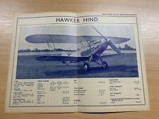 HAWKER HIND - 1930s AERO ENGINEERING #50 DATA SHEET