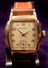 Serviced~NEAR MINT~ART DECO 1940s Rensie Swiss 10K RGP Mens Watch~All Original!