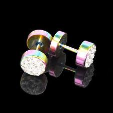 2 Pcs Black Silver Men's Barbell Punk Stainless Steel Crystal Ear Studs Earrings
