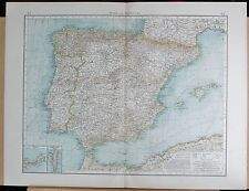 """1900 """"TIMES""""  LARGE ANTIQUE MAP - SPAIN AND PORTUGAL INSETS CUETA, GIBRALTAR"""