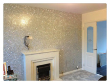 Glitter Wallpaper Grade 3 Silver 1.3m2 Home Decor Wall Paper Fabric Furniture UK