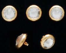 4MM 14K GOLD PLATED DERMAL FLAT CLEAR CZ FLAT BOTTOM DOME HEAD 14 GA