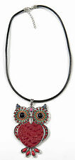 Fashion Red Owl Pendant Jewellery Beaded Gems Diamonte Black Leather Necklace