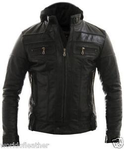 BIKER Racing Jacket Leather Boomer Biker Jacket Detach Hood