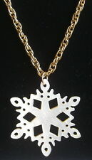 Snowflake Necklace Mother of Pearl 24 karat Gold Plate Rope