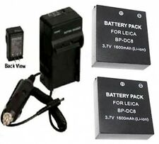 TWO 2 BP-DC8 BP-DC8E Batteries+ Charger for Leica X1 Digital Camera BPDC8 BPDC8E