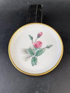 Vintage Porcelain Butter Pat Moss Red Rose Sonata - Stonegate Germany