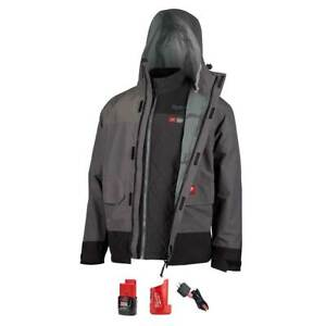 Milwaukee 203RN-21L M12 12V 3in1 Large Heated Axis Gray Jacket Kit w/Rainshell