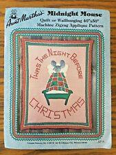 Aunt Martha's MIDNIGHT MOUSE Quilt Wallhanging Zigzag Machine Applique Pattern
