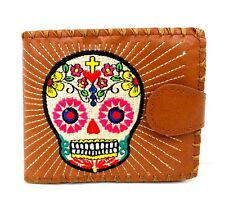 Day of the Dead Brown Sugar Skull Wallet Lavishy Vegan Leather Embroidered New