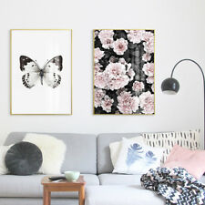 2 Piece Wall Prints - Butterfly Pink Azalea Flowers Digital Painting Unframed