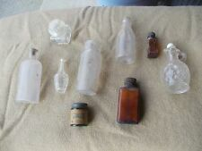9) Vintage Glass Bottles bottle amber clear w/ cork glass & twist top container