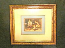 "Vintage Oil Print Children at Play Framed & Triple Matted 16""x 18"" Gold Red"