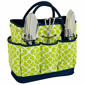 Picnic at Ascot Gardening Tote with 3 Stainless Steel Tools- (Trellis Green)