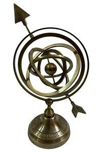 "12"" Antique Nautical Brass Armillary Sphere Globe with Arrow Engraved Base Decor"