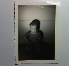 Vintage Black & White PHOTO Little Blonde Boy On Floor Casting Shadow On Wall