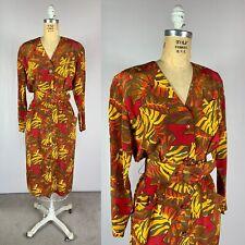 New listing Vintage 80s Palm Frond Silk Belted Safari Shirt Dress Glamour Jewel Tone Size 8
