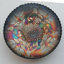 "Stag + Holly..8""  bowl....old-acx.....nice Blue color...vintage carnival glass"
