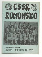 Orig.PRG    EM Qualifikation  30.11.1983   CSSR - RUMÄNIEN  !!  SEHR SELTEN