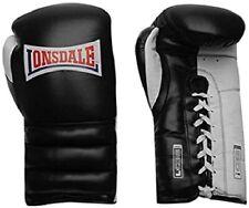 LONSDALE Black & White Barn Burner Lace Up Boxing Training Gloves 18oz BNWT