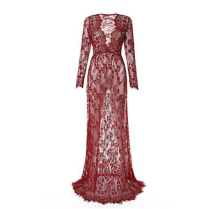Women Sexy Deep V Neck Long Sleeve Maternity Gown Lace See-through Long Dresses
