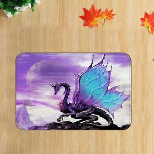 Fantasy Animal Purple Dragon Shower Rug Floor Door Mat Bathroom Bedroom Carpet