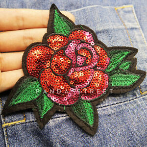 Sequins Flower Rose Embroidery Sew On Iron On Patch Badge Fabric Applique Craft
