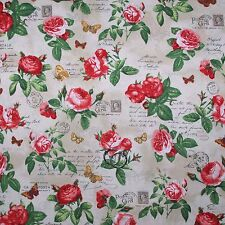 BonEful Fabric Cotton Quilt Red Pink Rose Flower French Country Cottage 99 SCRAP