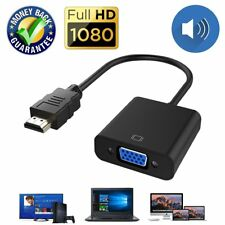 HDMI to VGA Cable Adapter Converter 15 Pin d Sub, HDMI Gold with Audio Male to V