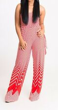 Orange Chevron Strapless Tube Top Belted Tie Jumpsuit Romper Jumper Tall Pants