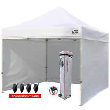 White Canopy Tent with Sidewalls Commercial Craft Fair 10 X 10 Pop-up Weight Bag