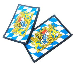 2 x Aufnäher Bayrisches Staatwappen Bayern Wappen Fahne Flagge Patch Bayrisch