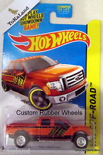 PB1 Hot Wheels 2014 137/250 Off-Road Custom Rubber Tires Orange 2009 Ford F-150