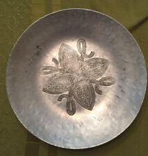 "Vintage 7.5"" Canterbury Arts Hammered Aluminum Arts & Crafts Serving Tray Bowl"