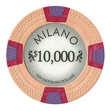 100 Orange $10000 Milano 10g Clay Casino Poker Chips New - Buy 4, Get 1 Free