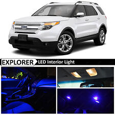 2011-2015 Ford Explorer Blue Interior + License Plate LED Lights Package Kit