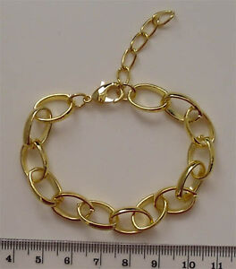 5x complete gold plated wide link bracelet chains with extender ideal for charms