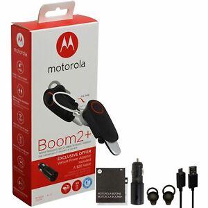 Motorola Boom 2+ PLUS HD Flip Bluetooth Headset W/ Car Charger (MH003)