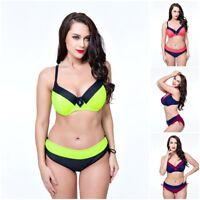 Damen Bademode Bikini Bra Schwimmen Swimsuit Freizeit Oversize Übergröße PUSH UP