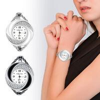 Fashion Women Bracelet Bangle Leather Crystal Dial Quartz Analog Wrist Watch