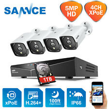 Sannce 5Mp Video PoE Outdoor Security Ip Camera System 4Ch Nvr Surveillance 1Tb