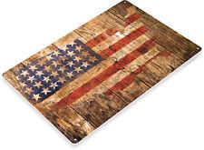 America Rustic Postal Stamp Flag USA Metal Decor Tin Sign B547