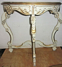 Vintage Cream & Gold Florentine Half Moon Hall Table